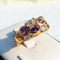 Wholesale Gemstone Ring Tanzanite - women wedding rings 1.6ct clear tanzanite charm amethyst purple gemstone eye ring solid 14k gold plated crystal rhinestone cz finger ring