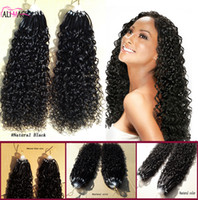 Wholesale 14 Micro Loop Extensions - 8A Micro Ring Hair Extensions 100% Virgin Human Hair Curly Micro Loop Hair Extensions Natural Black 100G Factory Direct Sales