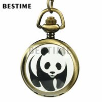 Wholesale Panda Pocket Watch - 3 pieces Wholesale Small Cute Necklace Pendant Pocket Watch Panda Quartz Movement Full Hunter 32inch Chain