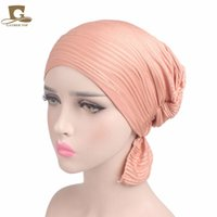 Wholesale Adults Headwear - 2017 new fashion Women's Ruffle Chemo Hat Beanie head Scarf Turban Headwear for Cancer Patients hair accessories
