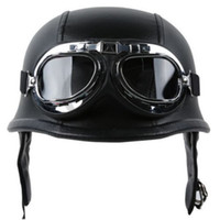 Wholesale Helmet Pilot Goggles Biker - Wholesale- Fashion WWII Style German Motorcycle Half Helmet with Goggles Chopper Biker Pilot Padded Motorcycle Bike Flight Half Helmet