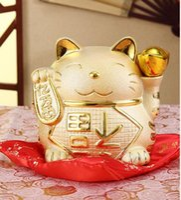 tirelires chat chanceux achat en gros de-Artisanat Arts décoration Lucky Cat ornements en or grande céramique japonaise économiser tirelire cochon banque créative boutique de cadeaux ouvert