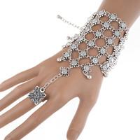 Wholesale Turkish Link Gold - 2 Pcs Ethnic Boho Interweave Finger Ring Hand Harness Flower Tassel Bracelets Multilayer Slave Bracelet For Women Turkish Jewelry