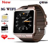 1.2ghz telefon großhandel-QW09 3G Wifi Wristband Android 4.4 1.56 Zoll 3G intelligentes Uhr-Telefon MTK6572 1.2GHz Doppelkern 512MB RAM 4GB ROM Bluetooth SmartWatch