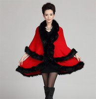 Wholesale Womens Hooded Fur Cape - Winter Womens Capes and Ponchos Fashion Fake Fox Fur Collar Cashmere Sweater Women Knitted Cardigan Poncho