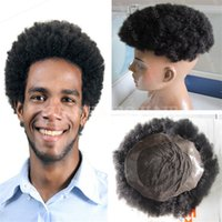 Wholesale Short Afro Curl Wig - Hot selling 6inch short malaysian virgin hair afro kinky curl lace pu toupees for black men free shipping