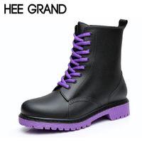 Wholesale Lace Up Rain Boots Women - Wholesale-HEE GRAND Women Rainboots 2016 Plain Flat Ankle Boot Waterproof Rubber Rain Boots Lace-up Shoes Woman Size Plus 36-41 XWX3792