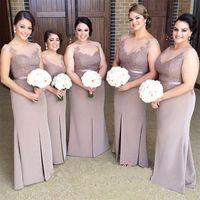 gelinlik için yan kanatçıklar toptan satış-Kahverengi Mütevazi Plus Size Split Side Gelin Giyimi Kılıfı Dantelli Ön Split Uzun Prom Kılıf Stil Düğün Misafir Elbiseleri