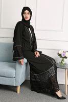 Wholesale Maxi Spandex - New Plus Size Muslim Women Long Sleeve Lace Maxi Dress Islamic Black Abaya Dress Kaftan Dress