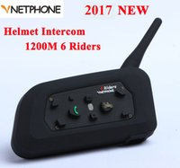Atacado- Vnetphone V6 1200M Moto Bluetooth Capacete Intercom Full Duplex para 6 cavaleiros BT Wireless motocicleta Interphone Headsets