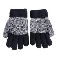 Wholesale Fingerless Gloves Boys - Wholesale- Autumn Winter Kids Gloves Girls Boys Mittens Thick Warm Cashmere Student Five Fingers Gloves