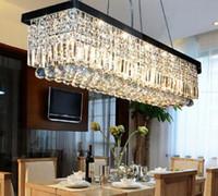 retangular sala de jantar lustres venda por atacado-DHL navio Livre Modern Retângulo Gota de Chuva Lustre de Cristal para Sala de Jantar Lâmpada de Suspensão de Iluminação Dispositivo Elétrico
