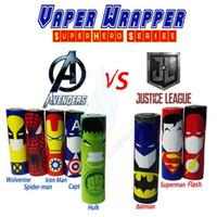 Wholesale Vapor Skins - New Superhero Luxury Series 18650 Battery vaper wrapper vapor mods Superman Batman Captain America PVC Skin Sleeve Heat Shrink Re-wrapped