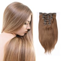Wholesale 7A Brazilian Virgin Human Hair Clip In Extension Full Head Medium Brown Straight Human Hair Extensions7Pcs Inches Dyeable