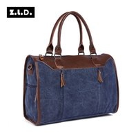 Wholesale Brown Canvas Duffel Bag - Original Z.L.D Canvas Leather Men Travel Bags Classic Carry on Luggage Bags Casual Vintage Unisex Large Weekend Bag Overnight