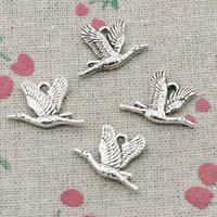 Wholesale Wild Birds - 75pcs Charms wild goose bird 20*14mm Antique Silver Pendant Zinc Alloy Jewelry DIY Hand Made Bracelet Necklace Fitting