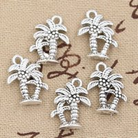 Wholesale Vintage Antique Tree Pendant - Wholesale-20pcs Charms palm tree coconut 18*13mm Antique pendant fit,Vintage Tibetan Silver,DIY for bracelet necklace