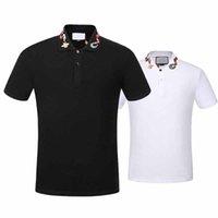 ingrosso t-shirt bianche di alta qualità-2017 Top qualità Estate T-shirt in cotone tee colletto serpente ricamo ture marchio strade di alta qualità nero bianco