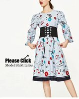 Wholesale Long Style Blouse Patterns - Cute Floral Pattern Blouse Sweet Puff Sleeve O-Neck Pullover Shirt Loose Lolita Style Back Button Women Tops SY17-02-23