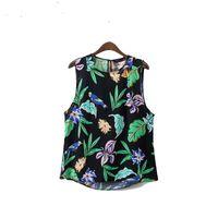 kuş stili gömlek toptan satış-Kadın yaz casual çiçek gömlek kolsuz sevimli kuş baskı bluz Avrupa tarzı moda streetwear tops
