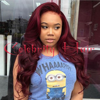 Wholesale Long Wigs For Dolls - Burgundy long sexy body wave wigs for black women free part synthetic wigs 100%fiber baby hair combs&straps doll pullip