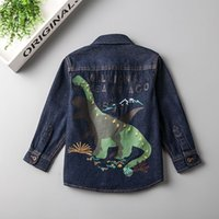 Wholesale Denim Top Boy - Everweekend Boys Dinosaur Print Floral Embroidered Denim Tees Cute Baby Blue Color Fall Tops