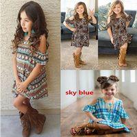 Wholesale Sleeve Leopard Dress - 3 Style Girl INS stripe leopard print dress 2017 New Children cartoon ins letters bowknot sling sleeve dresses kids clothes B