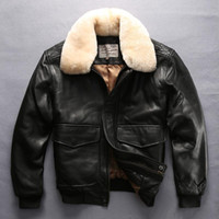 Wholesale avirex leather jackets - 2018 black Avirex fly genuine leather jackets with lamb fur collar flight bomber jacket sheepskin genuine leather