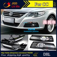 Wholesale Vw Cc Fog - Free shipping ! 12V 6000k LED DRL Daytime running light for VW Volkswagen cc 2009-2012 fog lamp frame Fog light