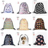 Wholesale drawstring backpack animals - 36 Style 3D Emoji Backpack 3D Print Drawstring Bags Oxford fabric waterproof Shopping Bag Animal Gifts Sack Bags Travel Shoulder Backpack