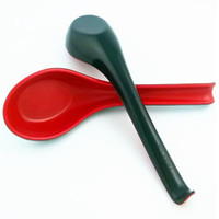 Wholesale Ceramic Flatware - Red Black Color Home Flatware Japanese Plastic Bowl Soup Porridge Spoon free shipping