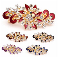 Wholesale Diamond Hairpin Hair Clip - 2017 Hot Sale Fashion Women Hairpins Colorful Shinning Rhinestones Flower Hairpin Hair Clip Jewelry hair accessories