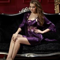 Wholesale Purple Silk Nightgown - XIFENNI Brand Satin Silk Bathrobes Noble Purple Two-Piece Robe Sets Embroidery Lace Sleepwear Faux Silk Nightgowns Female 8208