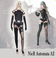 Wholesale Sexy Male Japanese - 2017 the latest Game NieR Automata A2 Black Unifrom Sexy full set Cosplay Costume Top + pants