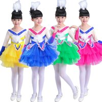 Wholesale Wholesale Ballroom Dress - KIDS Modern Latin dancewear dress Girls Ballet Dancewear Princess clothing Dance Costumes Children Ballroom Performance TUTU Dancing dress
