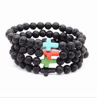 steinkreuzperlen großhandel-Natürliche Kreuz Schwarz Lava Stein Armbänder Chakra Healing Balance Perlen Armband für Männer Frauen Stretch Yoga Schmuck