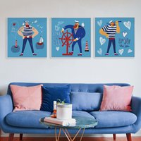 Wholesale Child Cartoon Picture Frame Paintings - 3 PCS Modern Nordic Cartoon Nautical Sailor Canvas Big Art Poster Print Wall Pictures Children Kids Room Home Decor Paintings No Frame