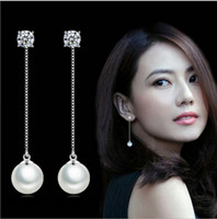 Wholesale Goddess Chain - Goddess children temperament Korean tassel earrings female long section of the female ear chain shiny earrings zircon Dazzling hot woman
