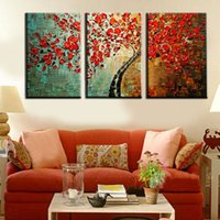 Wholesale Textured Tree Paintings - framed 3 Panel Red Wishing Tree Handpainted Textured Palette Knife Abstract Modern Oil Painting Wall Picture For Living Room