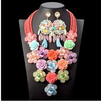 Wholesale Gem Weave - Top quality Handmade weave Chunky Chain Multi layer Acrylic Gem Flower Statement Choker Necklace Fine Jewelry sets Wholesale