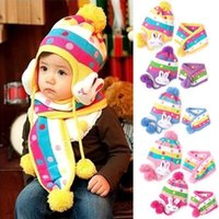 Wholesale Dotted Hat Scarf - Baby Winter Caps 2Pcs Sets Rabbit Polka Dot Hat+Scarf Boys Girls Knitted Cotton Sets Children Accessories 1-5 Years XX001