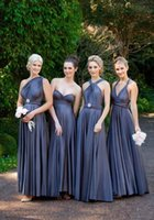 Beach Style A Line Floor Length Elastic Satin Long Bridesmaid Convertible Dresses Ruched New Arrival Wedding Party Dresses With Sleeveless