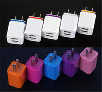 Wholesale Dual Usb Cell Phone Charger - Cell Phone Chargers plug Dual USB 2.1A AC Power Adapter Wall Charger Plug 2 port for mobile phone samsung galaxy note NEXUS tablet ipad
