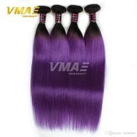8A Purple Straight Hair Weaves 3 Bundles / Lot Two Tone Ombre Color 1B Green Blue Grey Purple Brazilian Human Hair Extensions