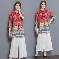 Wholesale The new show thin printed three quarter sleeve white nine points wide legged trousers fashion suits