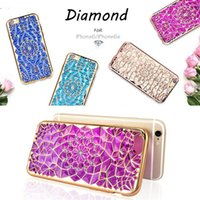 Wholesale Diamond Case Lg - 3D Sunflower Electroplate TPU Phone Case Cover For iPhone 6 Plus Moto G4 Plus Samsung S7 Edge with Crystal Bling Diamond