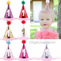 Wholesale Baby Birthday Hat - baby crown Headbands Kids glitter Hairband girls 1st birthday party supplies princess glitter tiara Hat boutique hair accessories KHA527