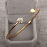 Wholesale Gold Crystal Bracelet Heart Rhinestone - Heart - shaped Crystal Heart Open Bracelet Gold - plated Bangle Double Heart Bracelet wholesale free shipping