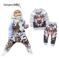 Wholesale Baby Tiger Outfit - 2017 new baby boys outfits long sleeve toddler boy T-shirt top+pants two-piece sets kids spring autumn clothing INS infant Tigers hooded set
