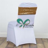 Wholesale Looking For Wedding - Good Looking Sequin Chair Band \ Chair Sash Fit For Wedding Spandex Chair Cover